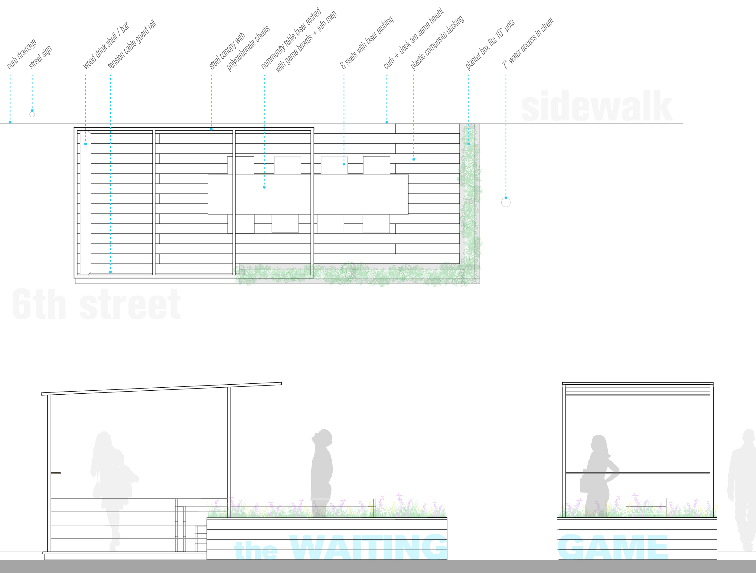 Plans and Elevations of the Parklet.