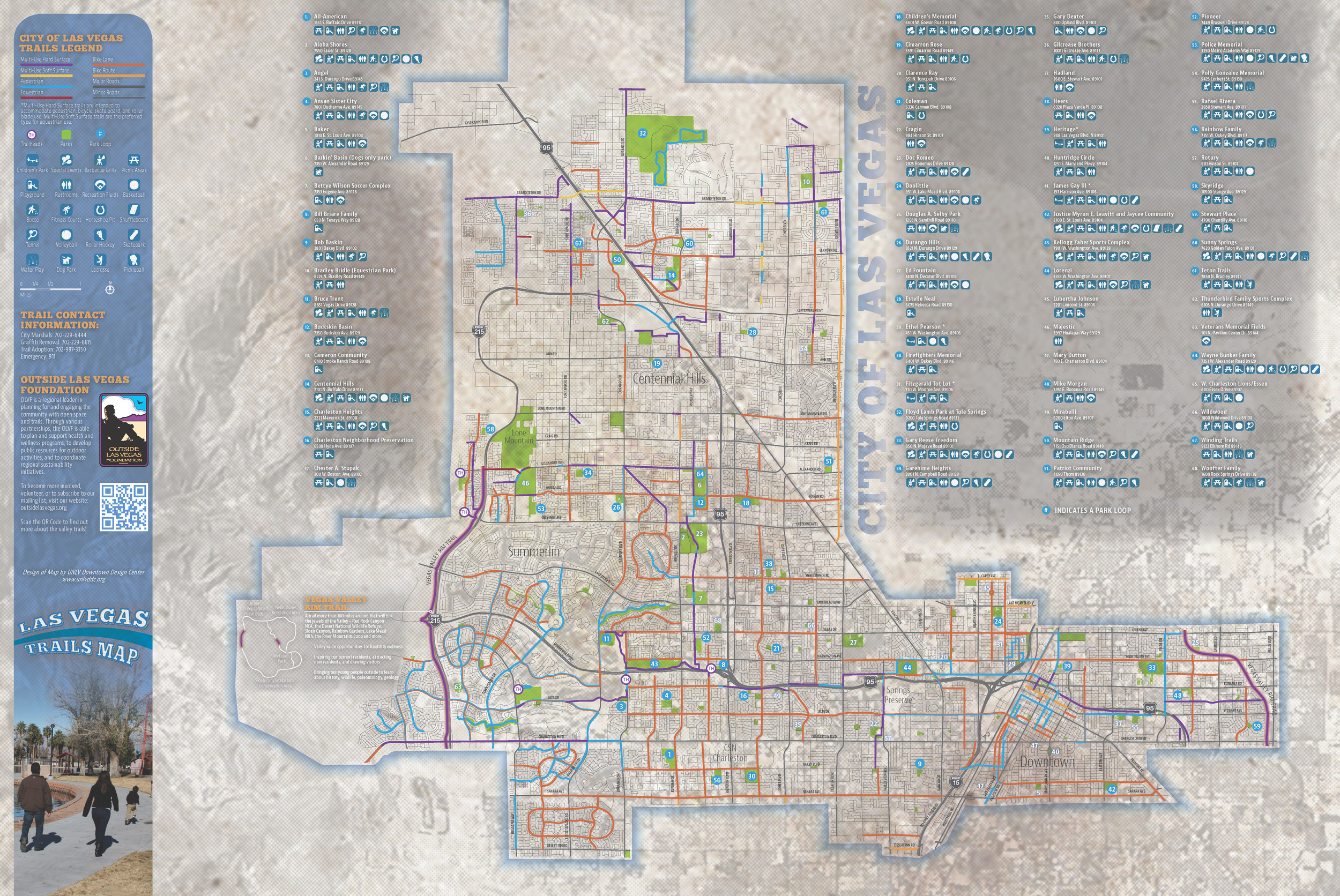 The front of the City of Las Vegas trails map. (click to enlarge)