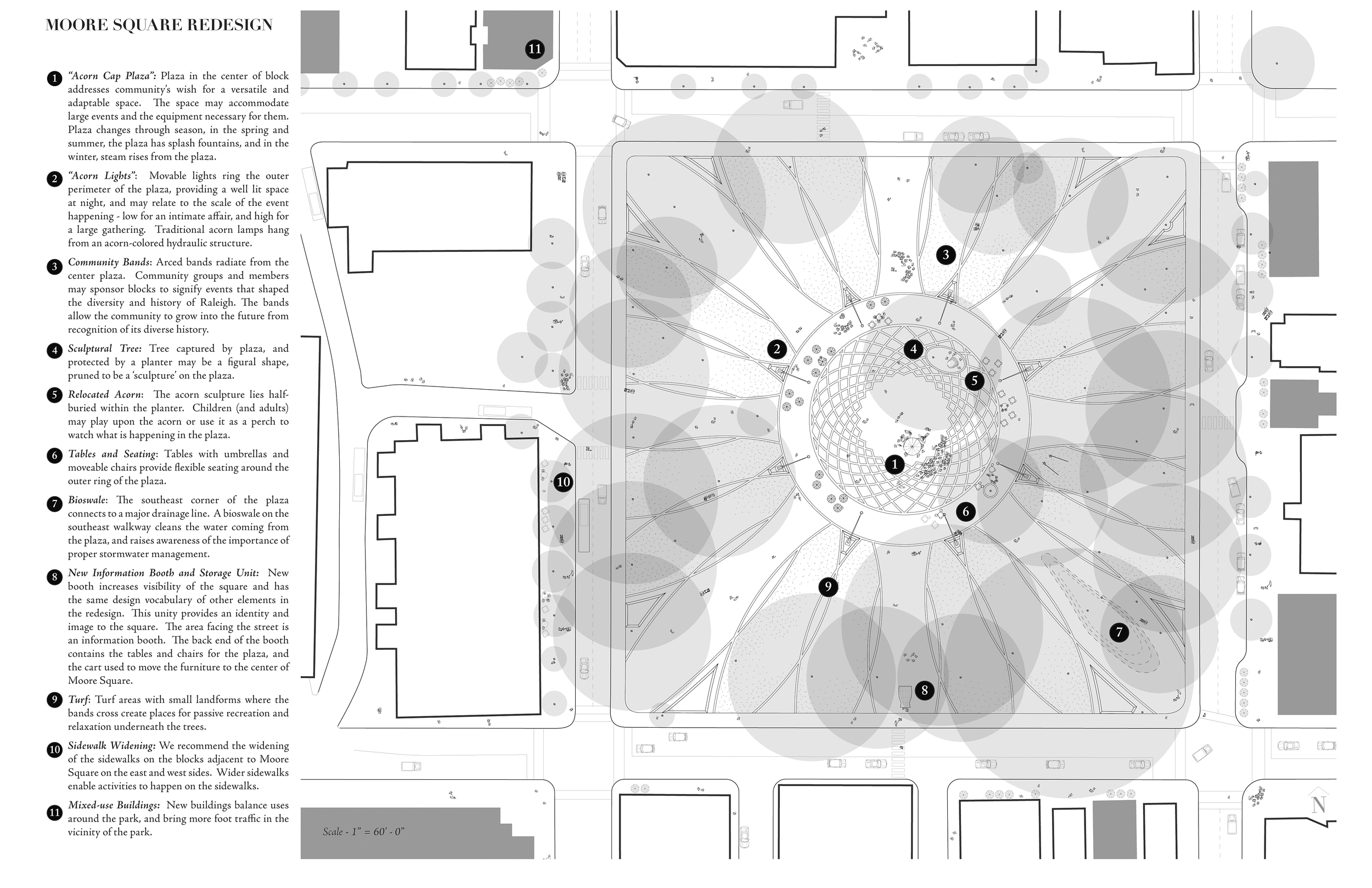 A plan of the park showing the acorn cap paving design in the center.(click for larger view on bigger screens)