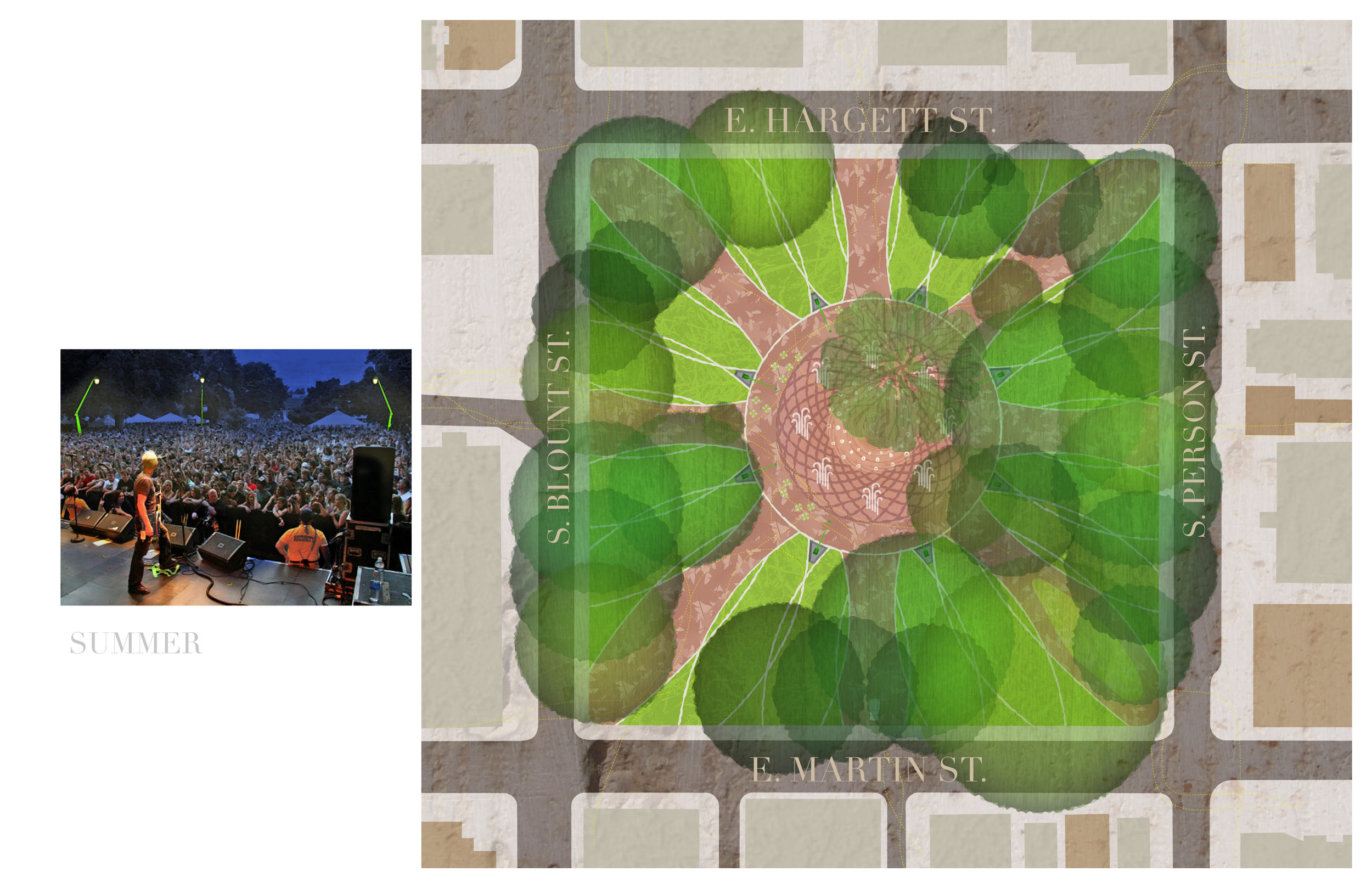 Summer plan of park showing fountains and night time event space in central plaza shown in image.