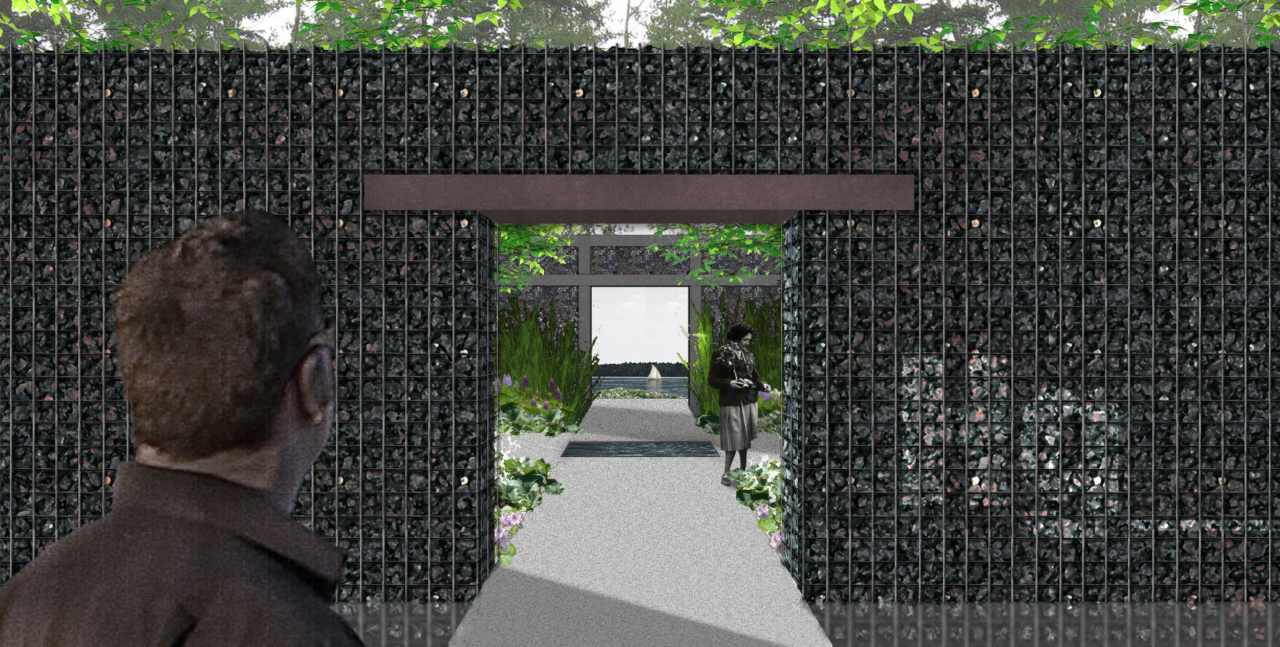 A view through the walls (coal and aluminum gabions)of the garden frames up the river - our design proposal reveals principal pollutants in the river. (click all images on page for larger view)