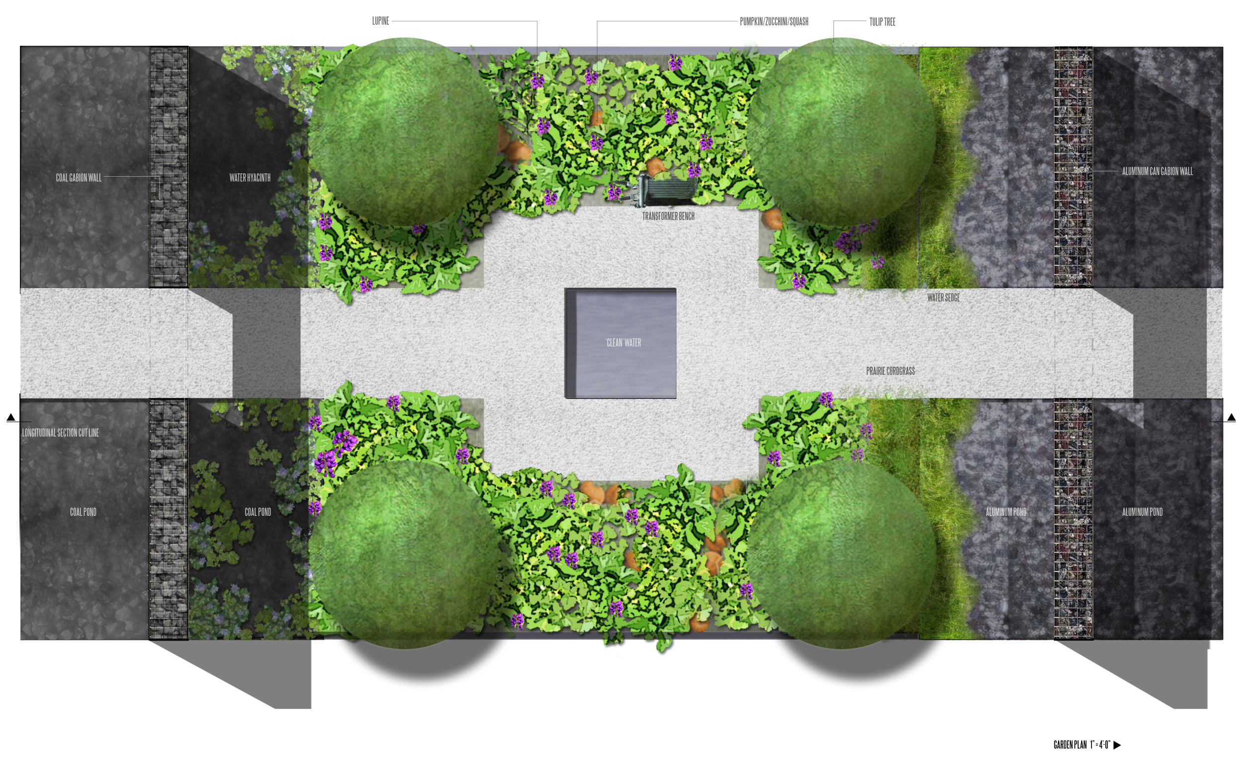 A plan view of the water. On the 20 x 30 site, we isolate the garden by water. Users pass over water bodies having coal and aluminum liners, and through coal and aluminum gabion walls. The central garden is filled with remediative plans, and has old transistors at industrial scale (related to PCB pollution) as seats.