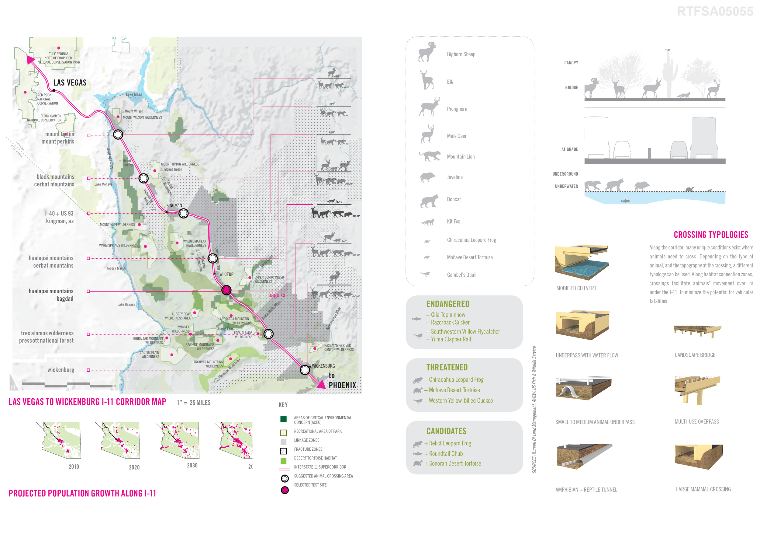 The proposed corridor runs through uniquely sensitive and high value ecological landscapes. The project team identified species zones and what types of overpasses and underpasses might be best for each area.