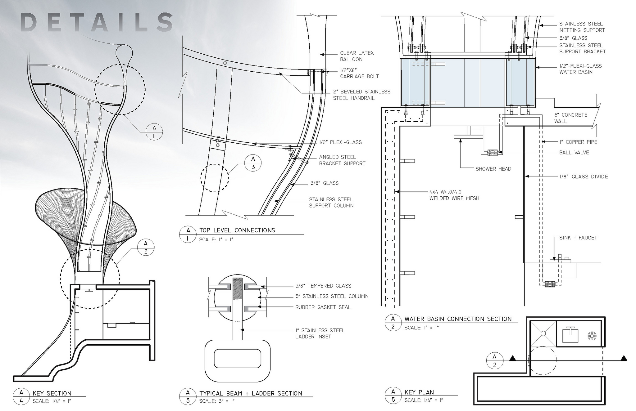 Detail explorations of the structure for critical elements such as structure, hand holds and water harvesting.