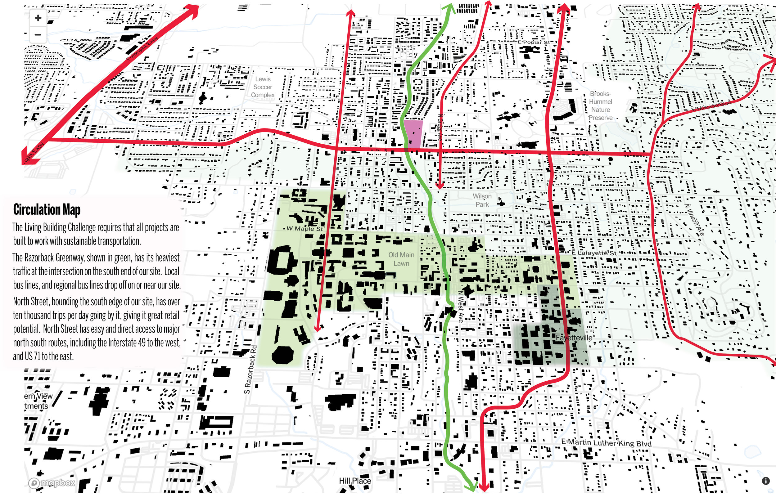 The image above shows the transportation and transect zone, demonstrating how effectively accessible and connected the site is.    (click image for larger version)