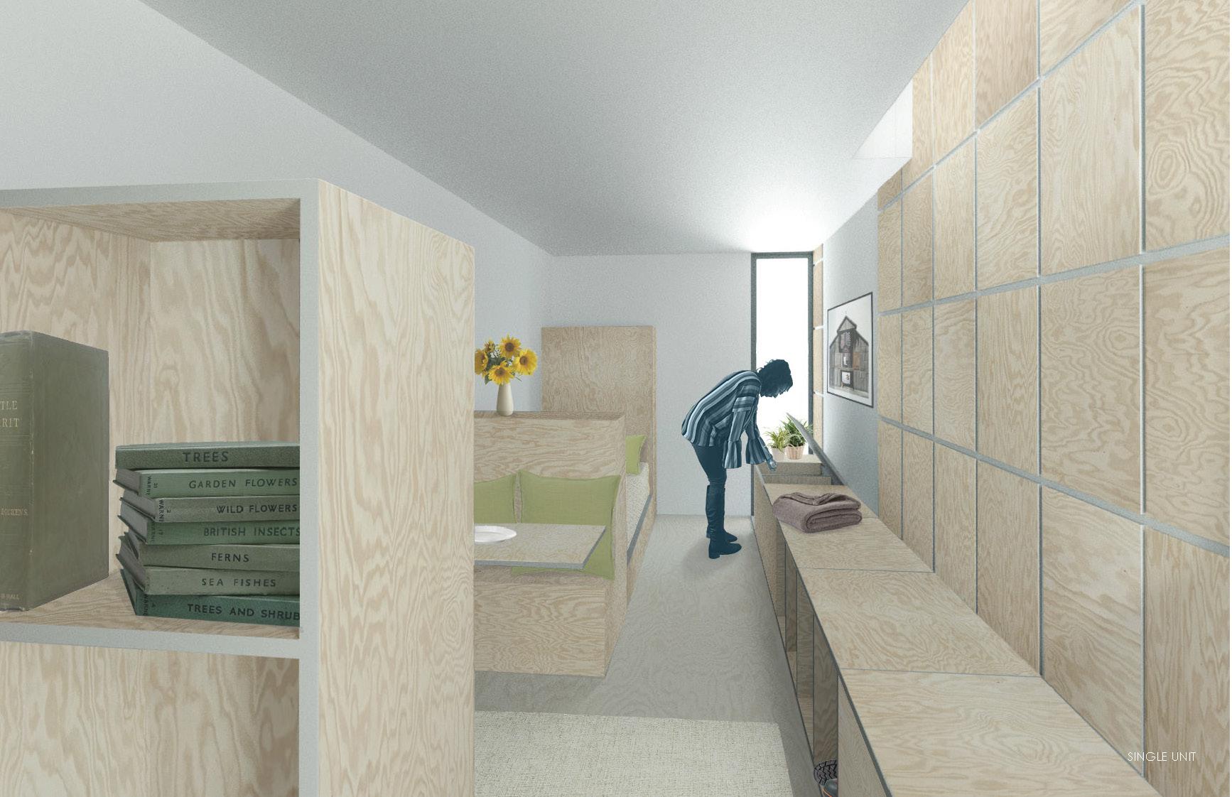 Interior view of living unit