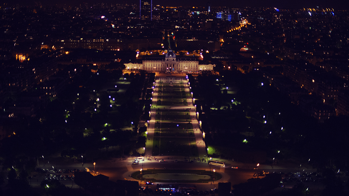 Parc du Champs de Mars from atop the Eiffel Tower