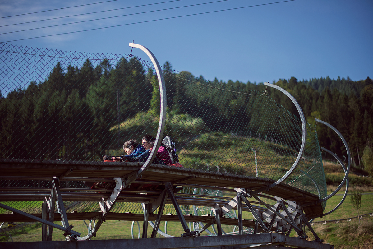 Riding on the Hasenhorn coaster in Todtnau