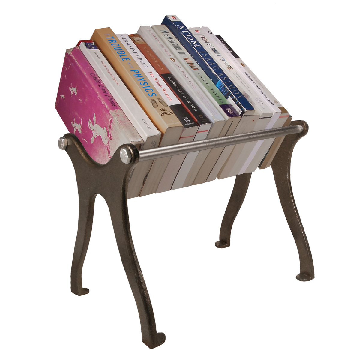 Cast Iron Book Shelf   Talk Design    Cast iron ends and metal rods create an elevated bookshelf display to sit above the surface of your desk or table   Retail Value: $159