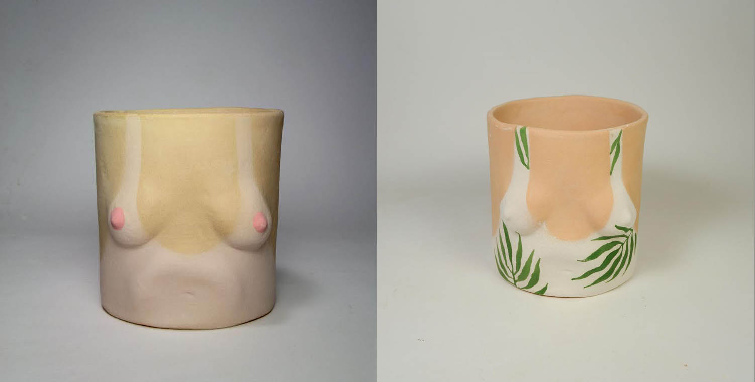 """""""Tanline and Leaves Pot""""   Isaac Nichols   2015  Clay  size"""