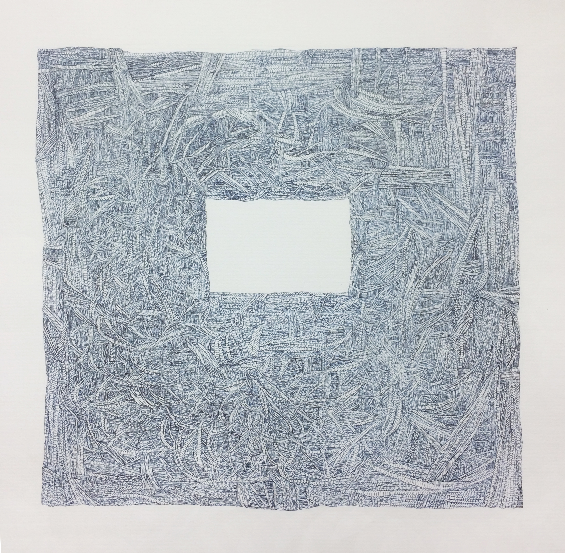 "Samantha Mitchell     Blue Box , 2015 Ink on Paper  21.5"" x 20"""