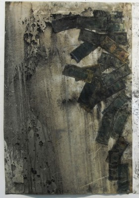 Abigail DeVille   Oil and $ (*a piece from this series)  2010 Motor oil, charcoal dust, paper