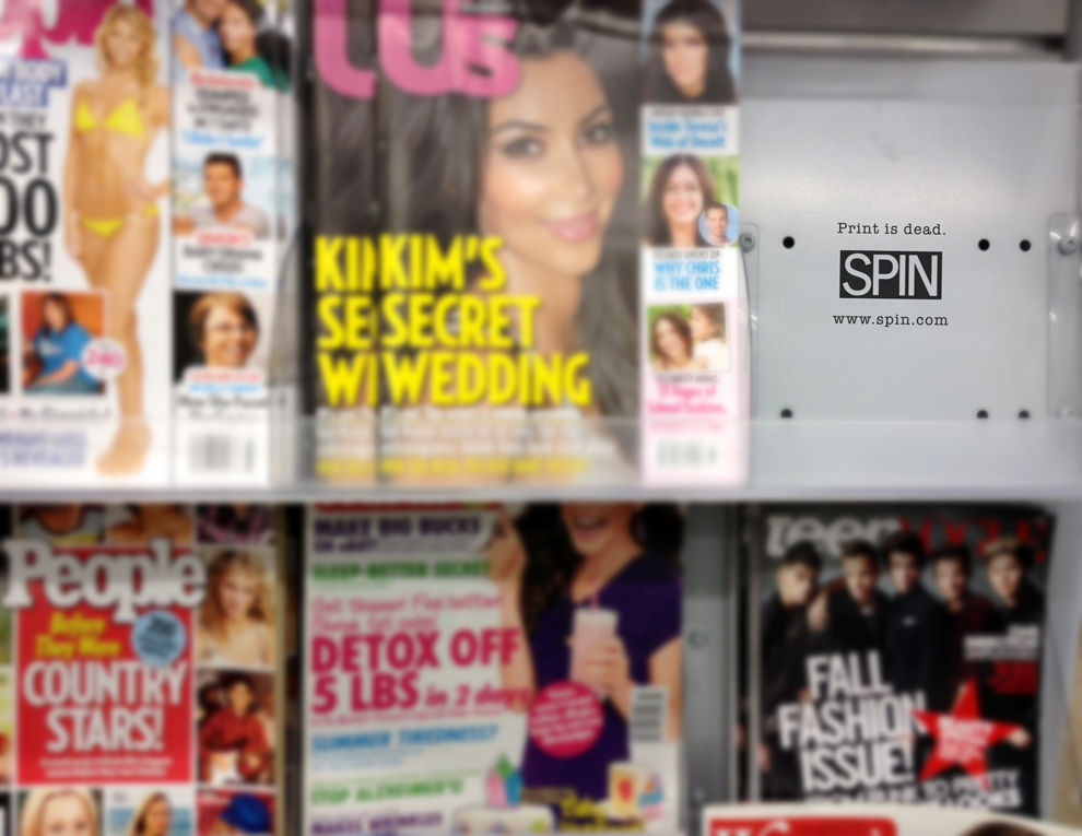Reserved empty space on magazine rack to show it's no longer in print.