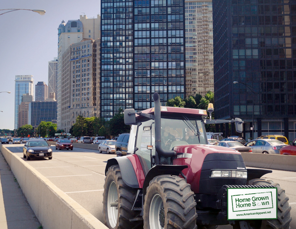 "Tractors driving around cities will grab the attention of future consumers for their ""Home Grown, Home Sewn"" project."