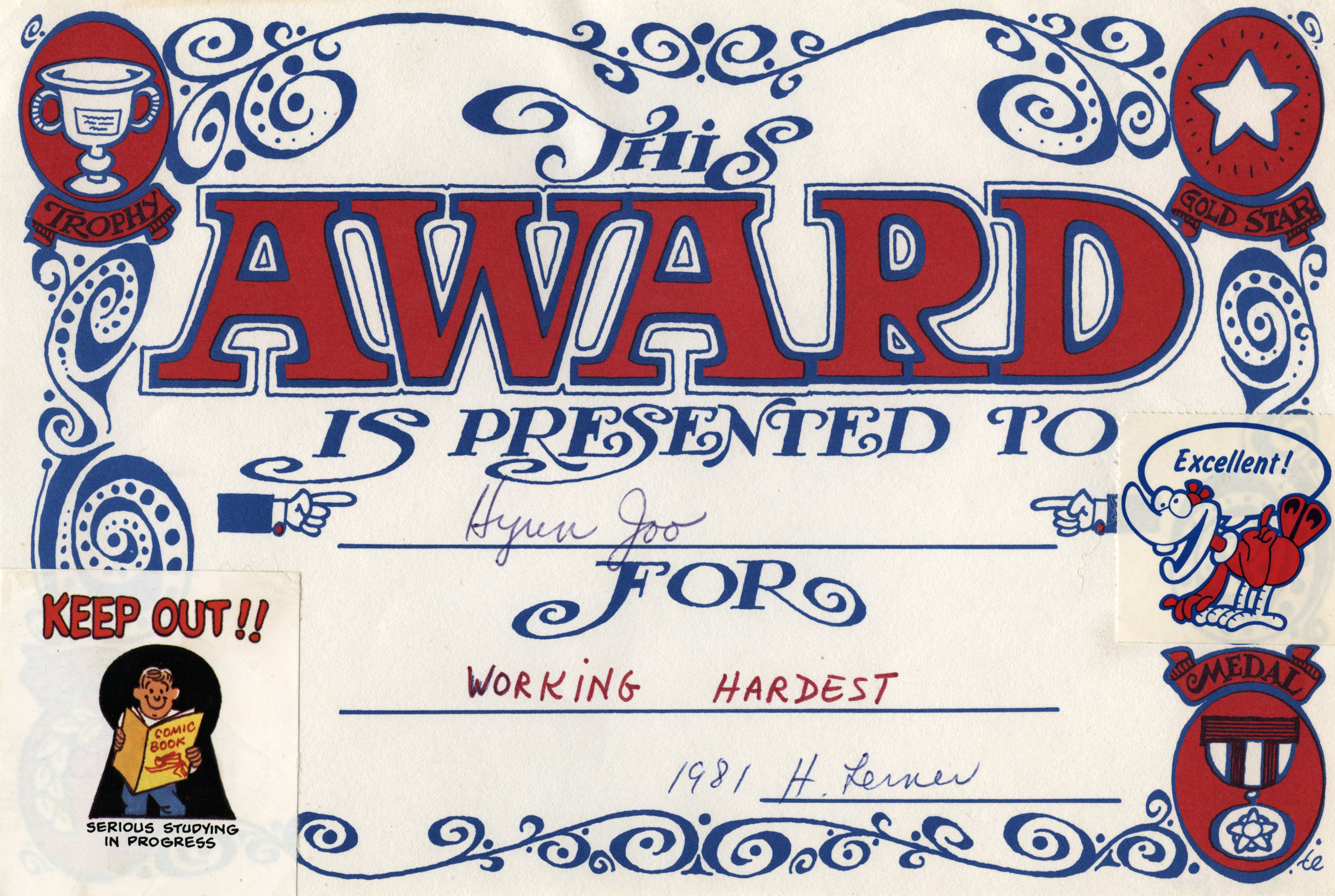 The Working Hardest Award  – Jenny Lee – Elementary School