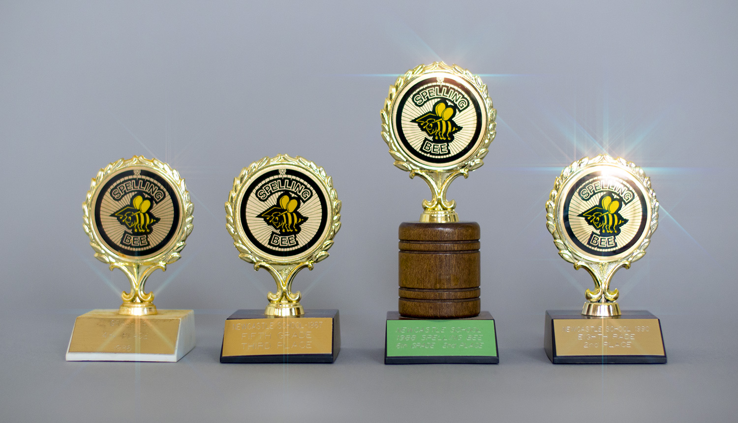 Spelling Bee Trophies  – 1986-1990 – Gareth Smith – Fifth Place and Second Place