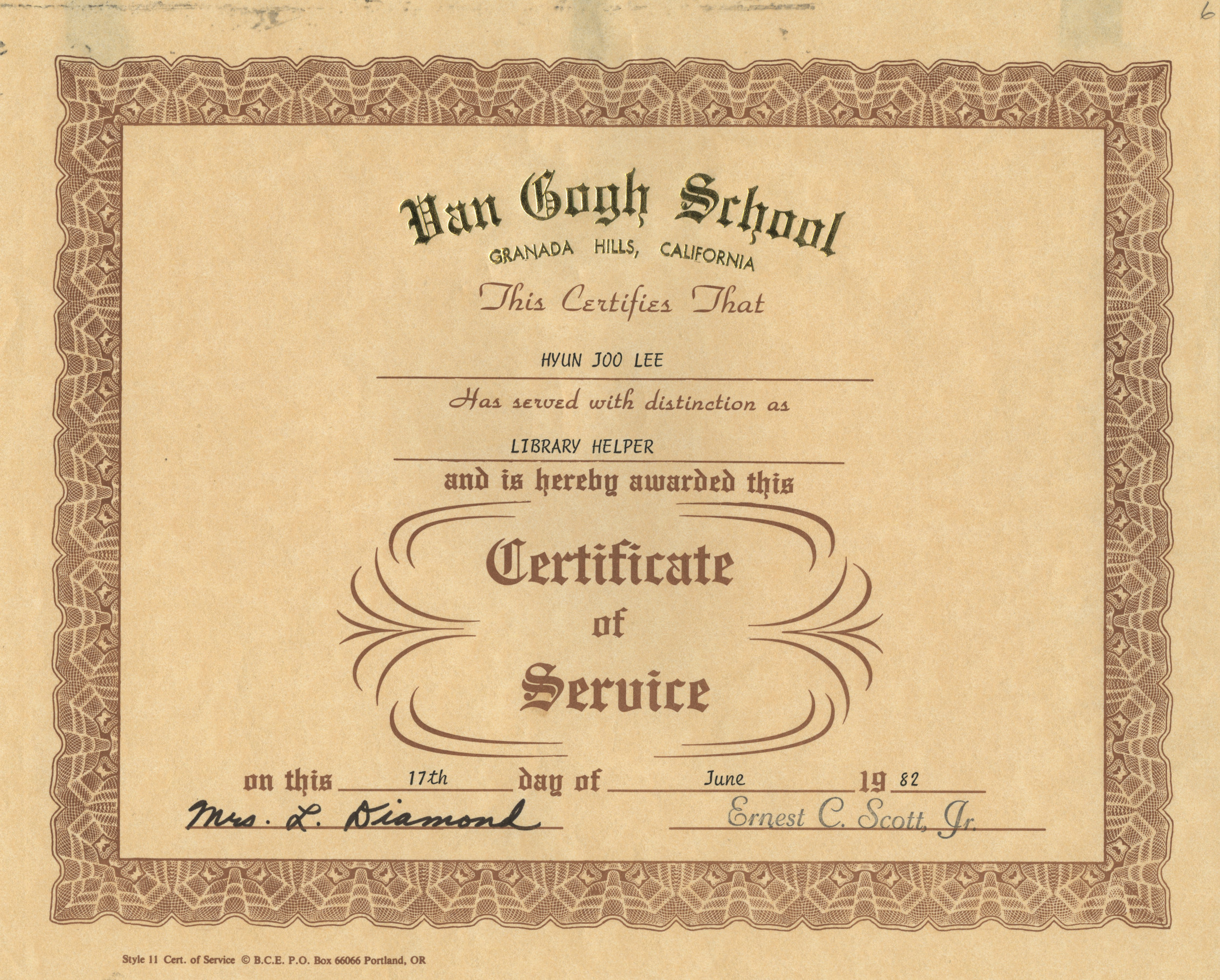 Library Helper Certificate of Service  – Jenny Lee