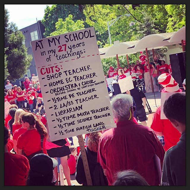 This is meaningful. The state of Oregon has been whittling away at the funding and staffing for years. Last semester I had a class of 43 in a computer lab with 37 computers. More teachers means smaller class sizes. Smaller class sizes will translate to a better experience for kids, increased graduation rates and more workplace ready students. #redfored #redforeducation #publiceducation #educacionpublica #eugeneoregon #springfieldoregon #schoolfunding #fundeducation #oregon