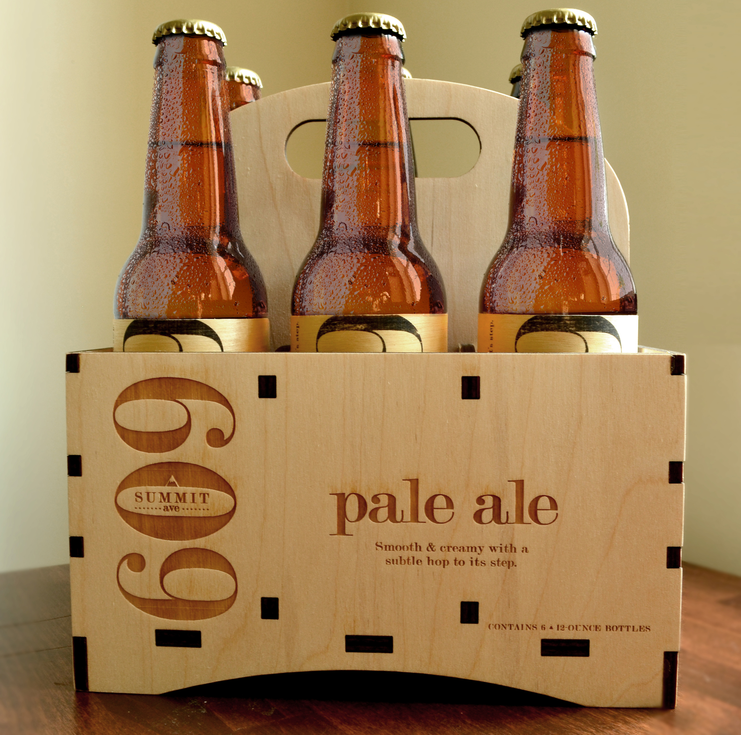 Laser Engraved Wooden 6-Pack Beer Carrier