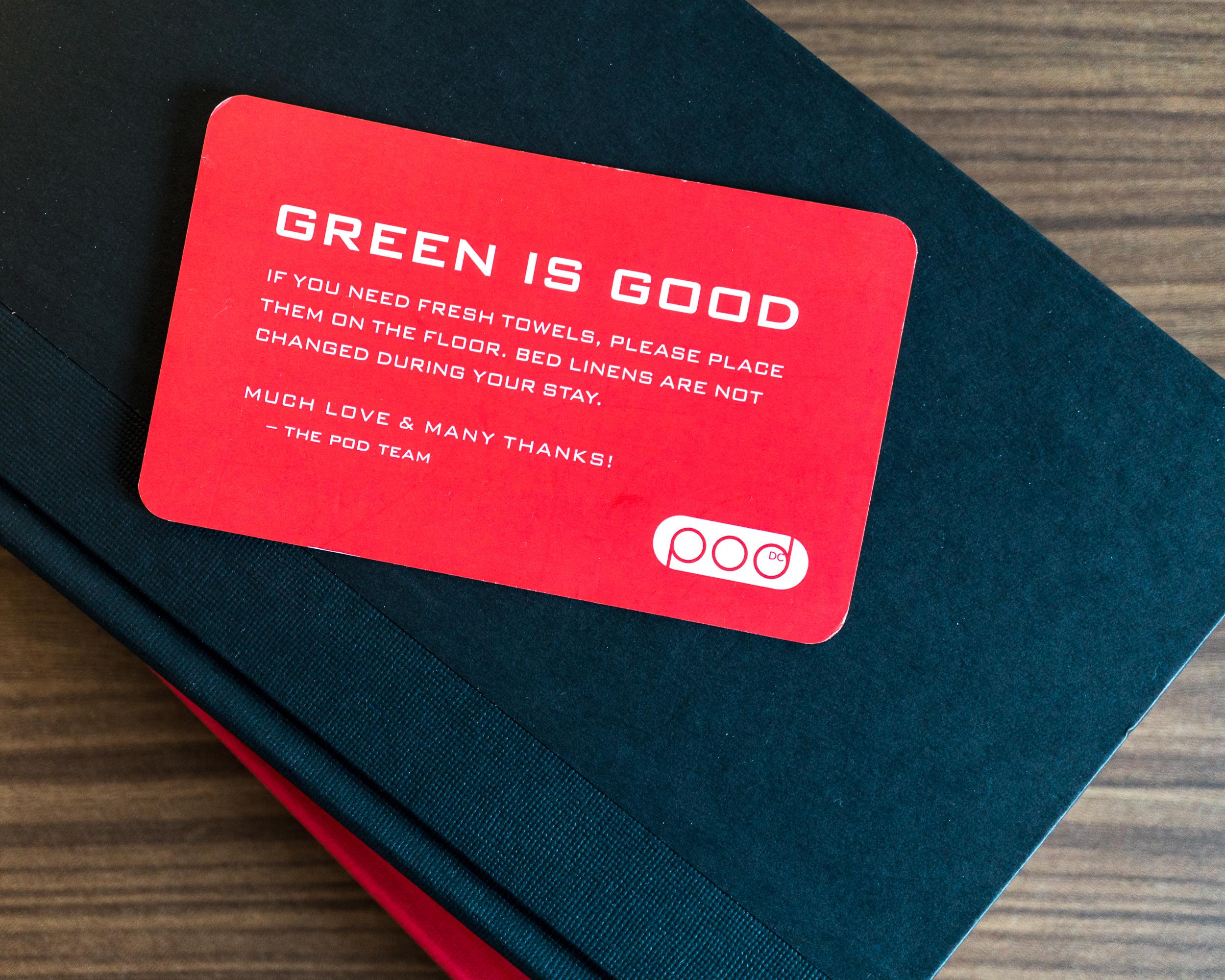 Environmental Awareness Hotel Card Design. Photo @podhoteldc