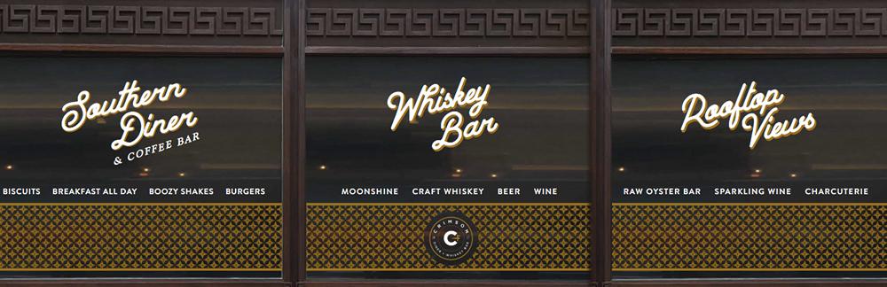 Vinyl Window Signage — Crimson Diner + Whiskey Bar at Pod Hotel DC