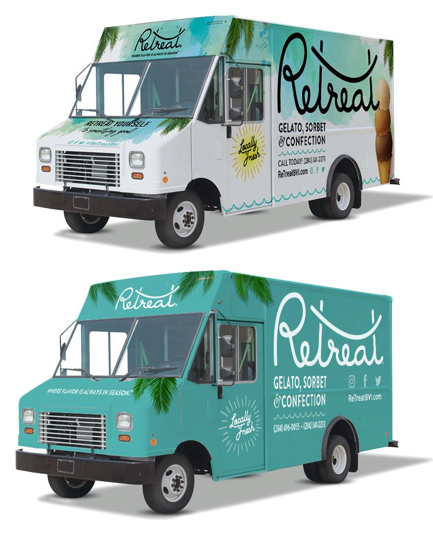 ReTreat Truck Wrap Designs; Proposed (bottom)& Final (top)