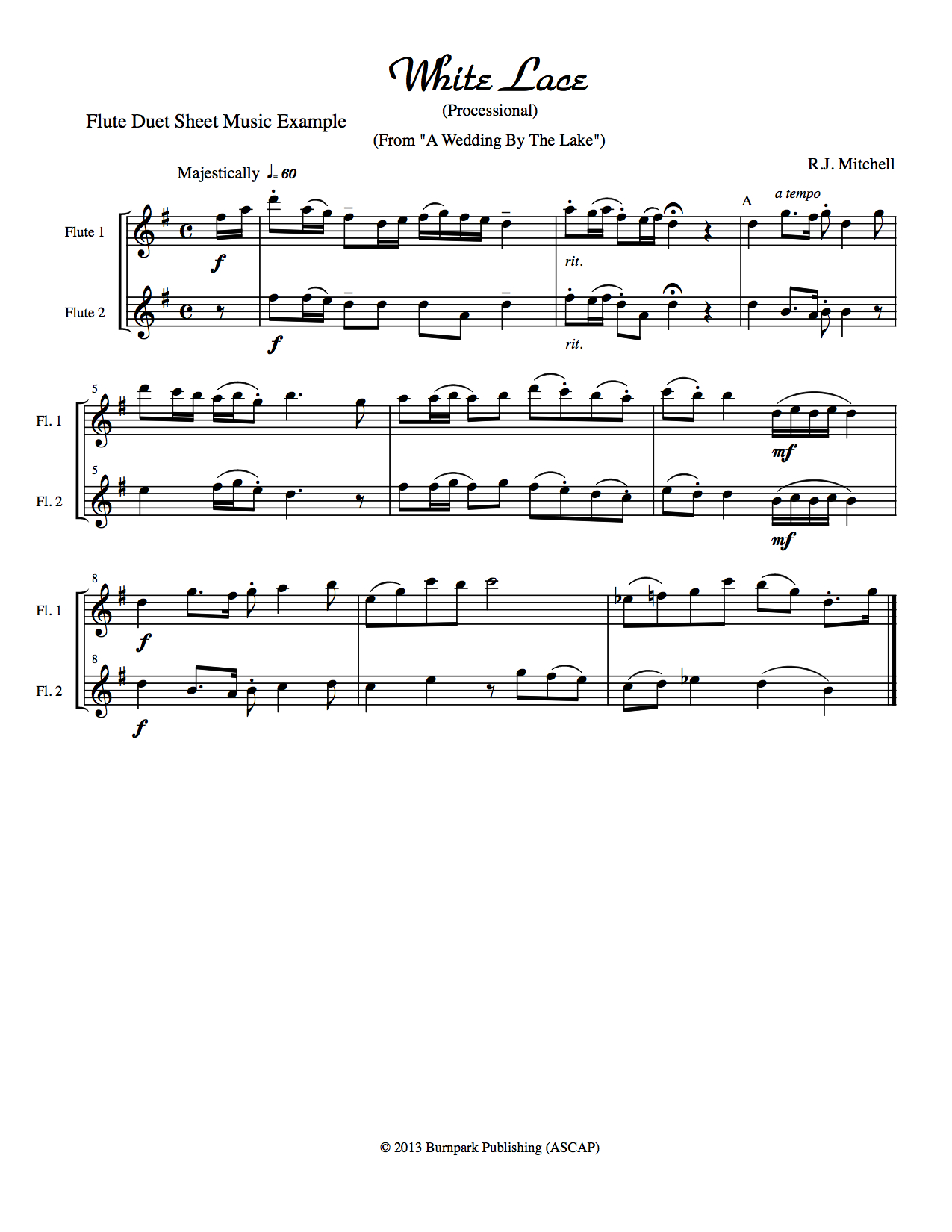 Flute Duets Parts 1 and 2 Example