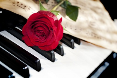 Red rose on piano keys with sheet music at perfect wedding ceremony music