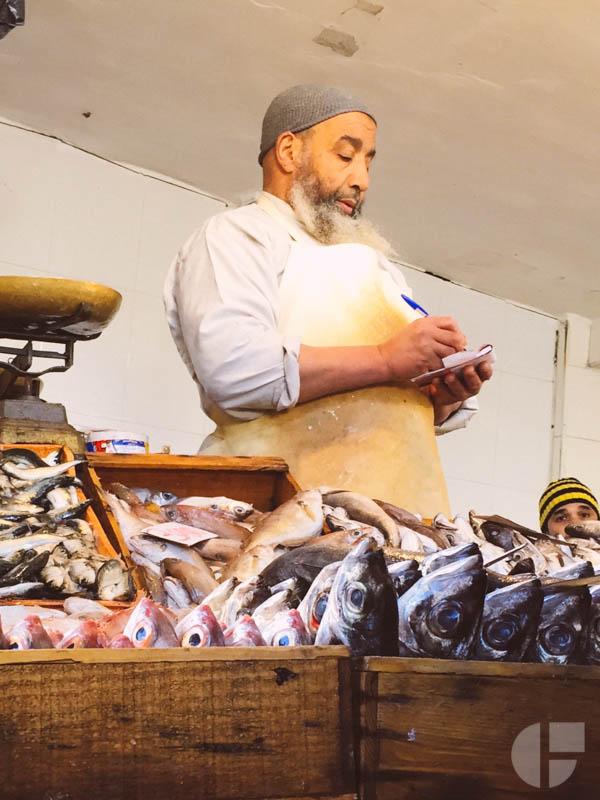 Getting sardines for our sardine tagine.