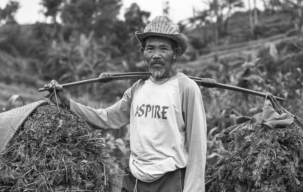 A Farmer, at the end of his harvest day, pauses for a portrait along a harvest trail in Java, Indonesia.