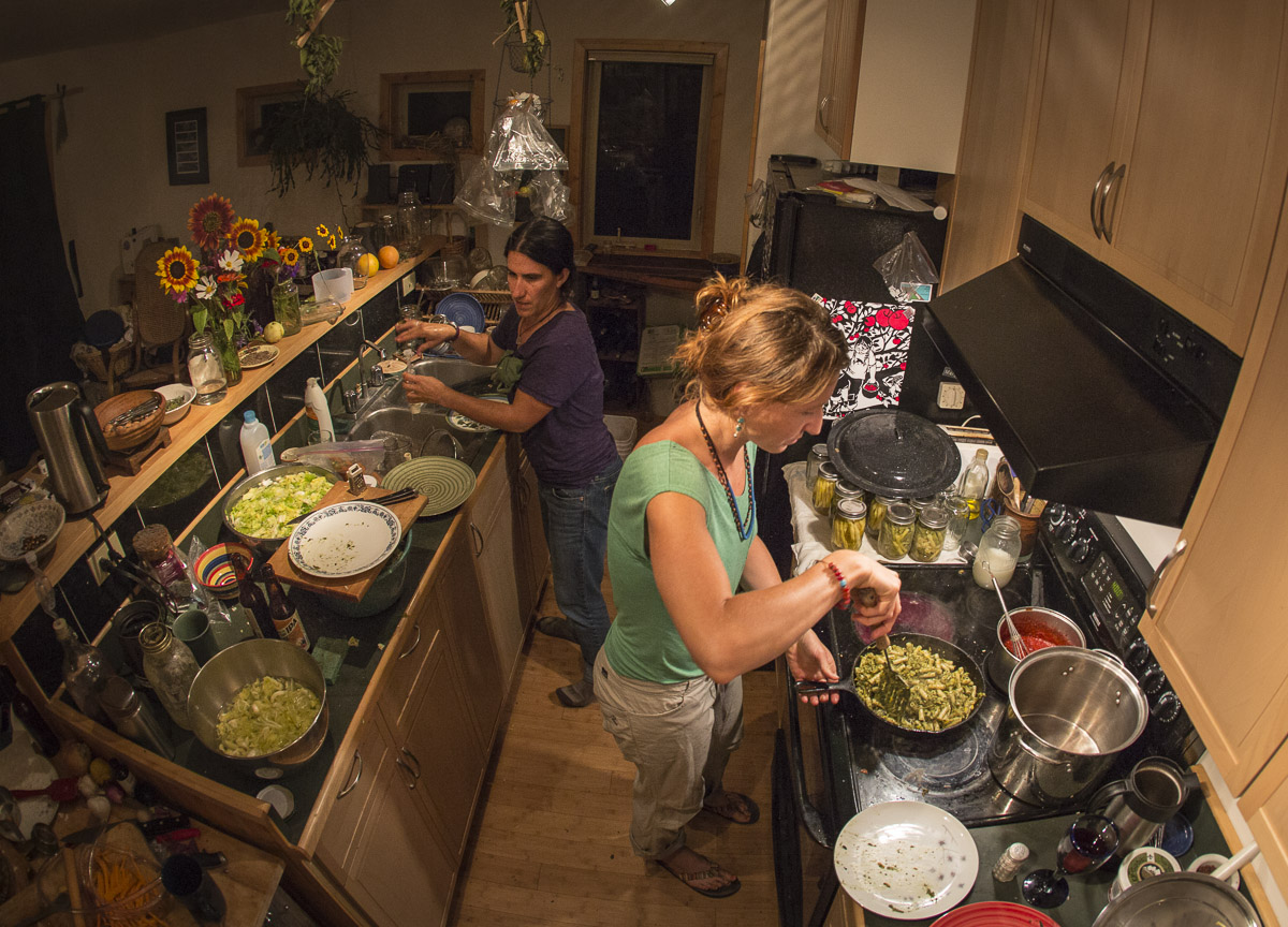 Cooperative pickling night with neighbors: a kitchen mess not as far out of the daily realm as you might imagine. Photo by Noah.