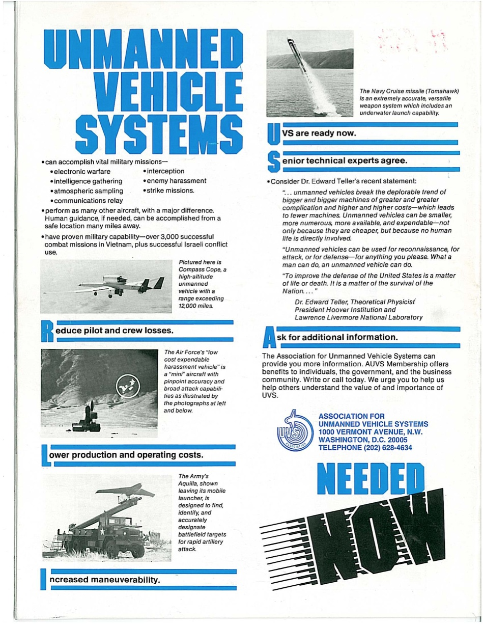 Unmanned vehicle systems needed now