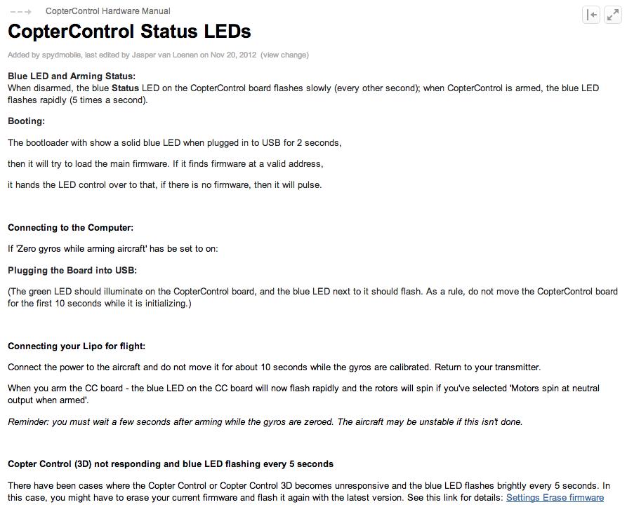 OpenPilot CopterControl LEDs