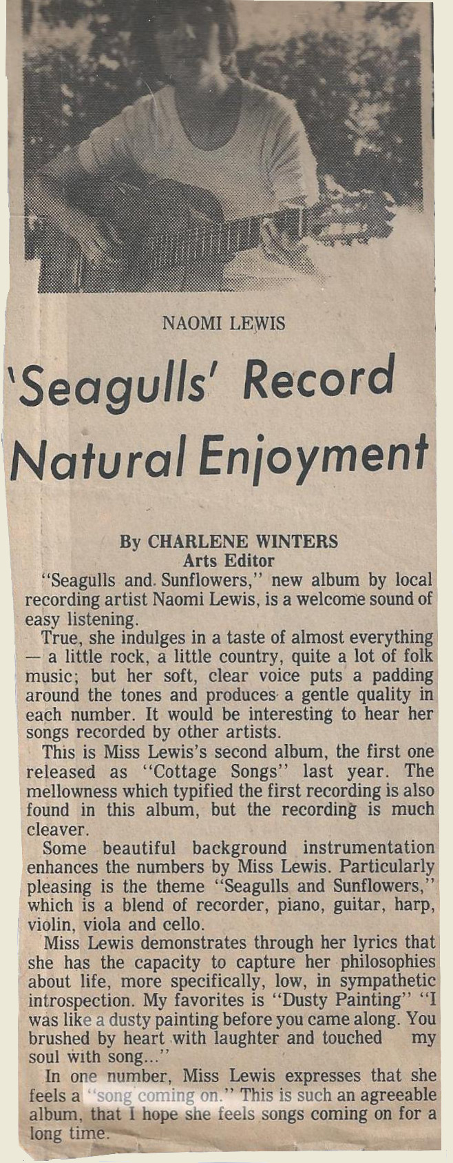 "A review of ""Seagulls and Sunflowers"" in a local newspaper."