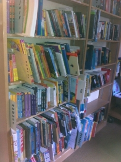 At  Booklist , part of the early fall children's and YA galleys and books to be reviewed—more shelves around the corner and across the room.
