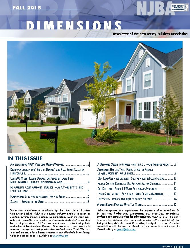 Article published in NJBA Dimensions Fall 2015 Newsletter