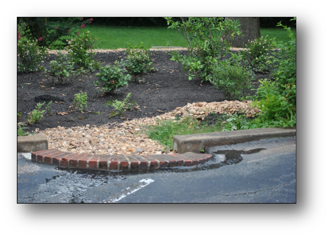 Example of Rock filter directing flow into Landscape flower bed to promote infiltration