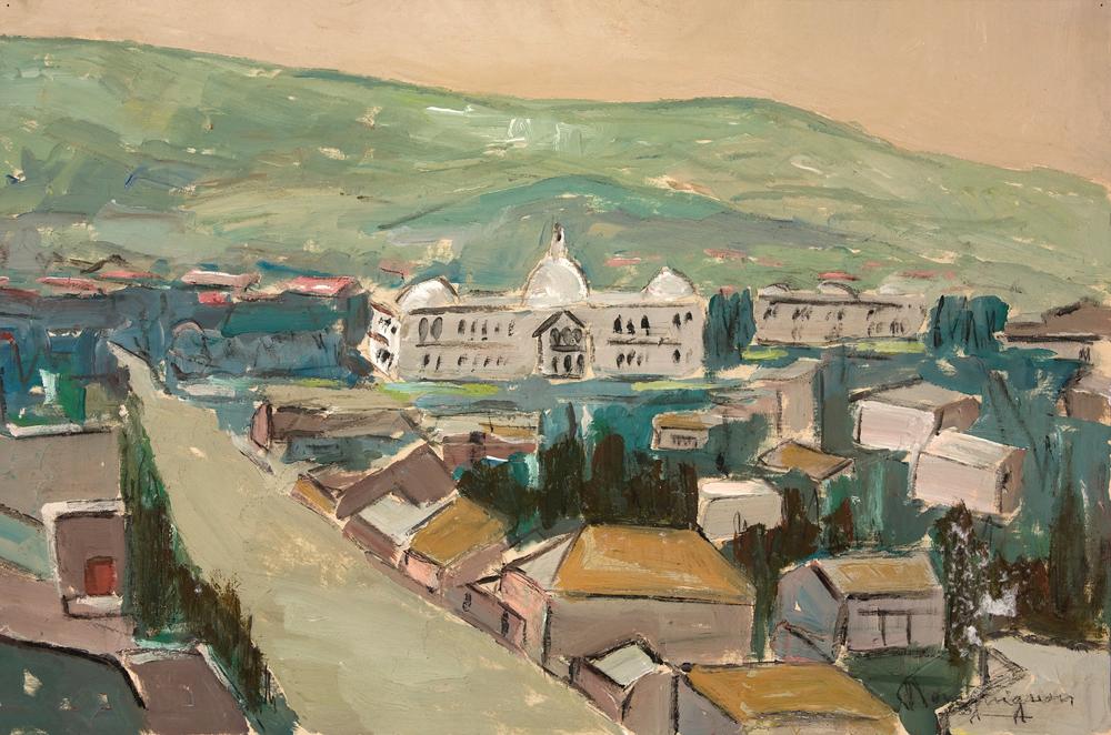 "Paul-Henri Bourguignon        The Palace, Port-au-Prince         Acrylic        15"" X 22.5"""