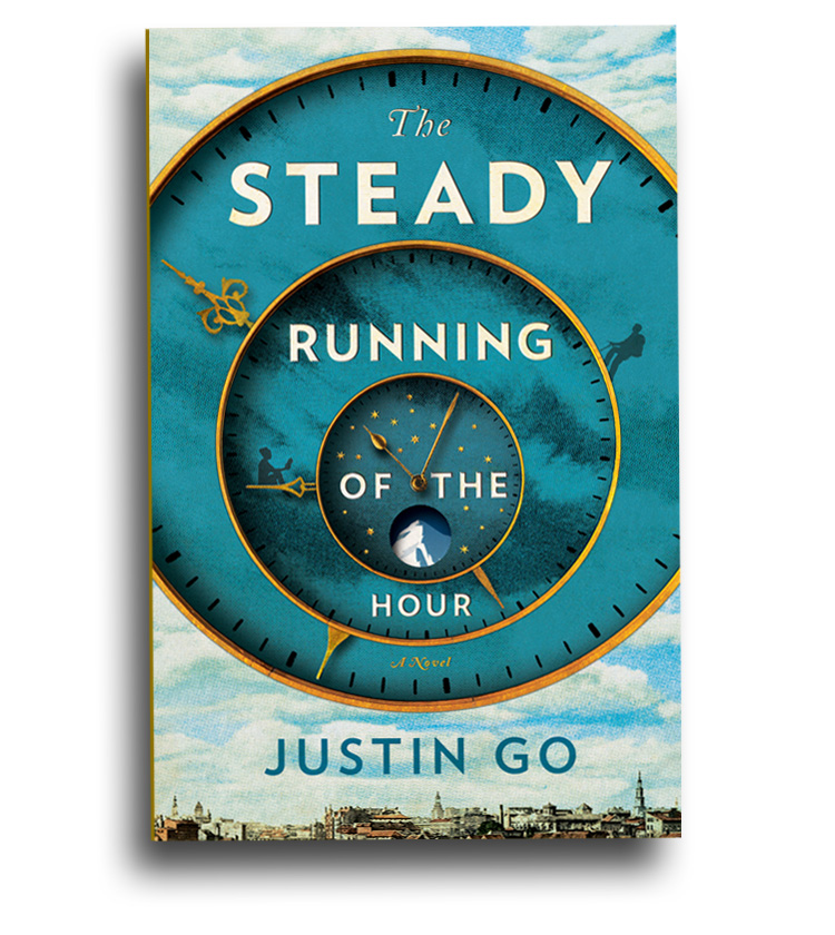 Alternate cover for The Steady Running of the Hour. Simon & Schuster 2014.