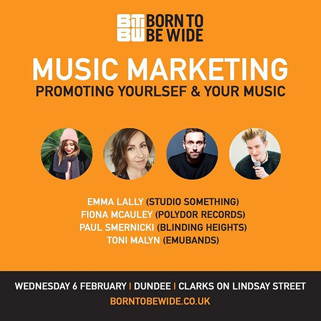 We're back in Dundee on Wednesday 6th February at Clarks on Lindsay Street with a special panel and networking event on Music Marketing 🎉  Featuring speakers from @polydorrecords, @somethinggram, Blinding Heights & @emubands , the panel will look at making the most of all the tools at your disposal - from social media to streaming playlists and the most interesting ways to engage fans 🙌  Tickets 👉 link in bio . . #dundee #dundeemusic #musicindustry #scottishmusic #musicmarketing