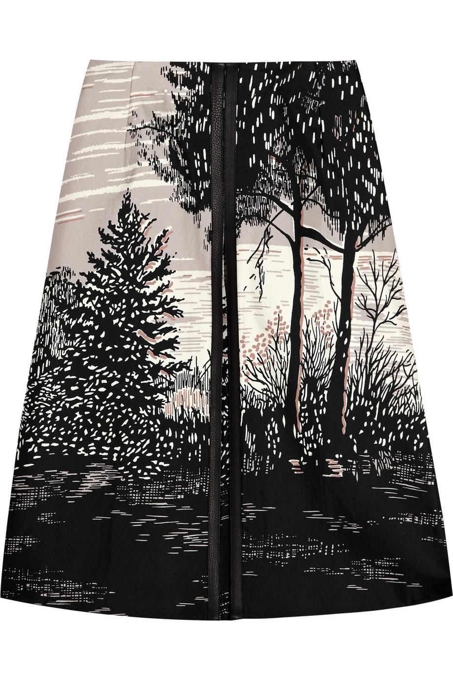 Marni Printed Bonded Silk Skirt