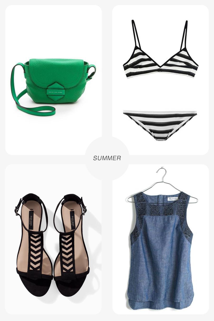 Clockwise from top left: Marc by Marc Jacobs bag/ Shopbop ; Chloe Swimwear/ MatchesFashion ; Linen Shirt/ Madewell ; Lattice sandal/ Zara