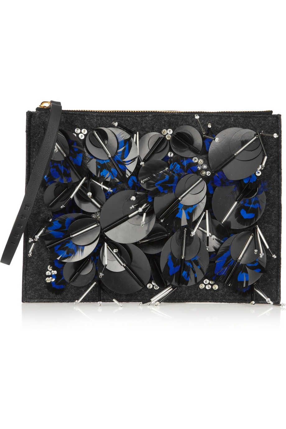 Embellished leather and felt clutch/Net-A-Porter