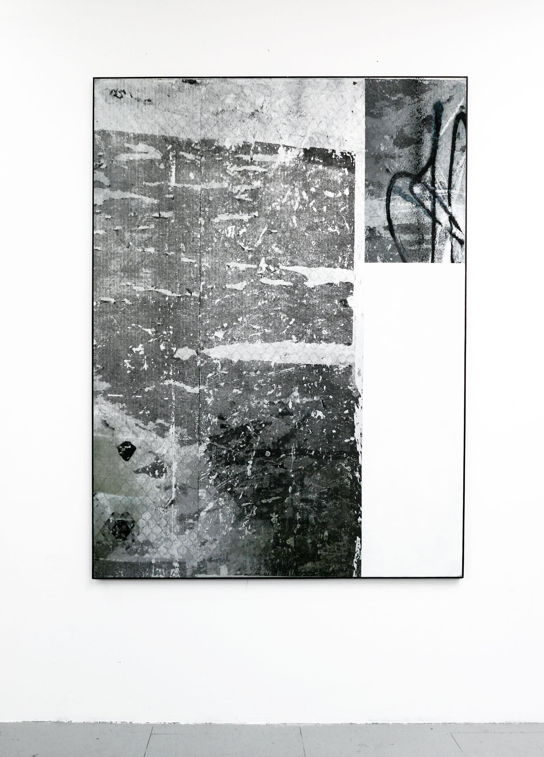 Patrol Scheme 2016.Oil toner and spray paint on canvas 150x200cm Artist Frame