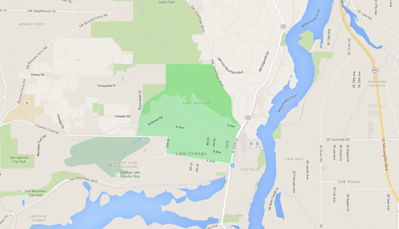 map of houses in first addition, a lake oswego neighborhood