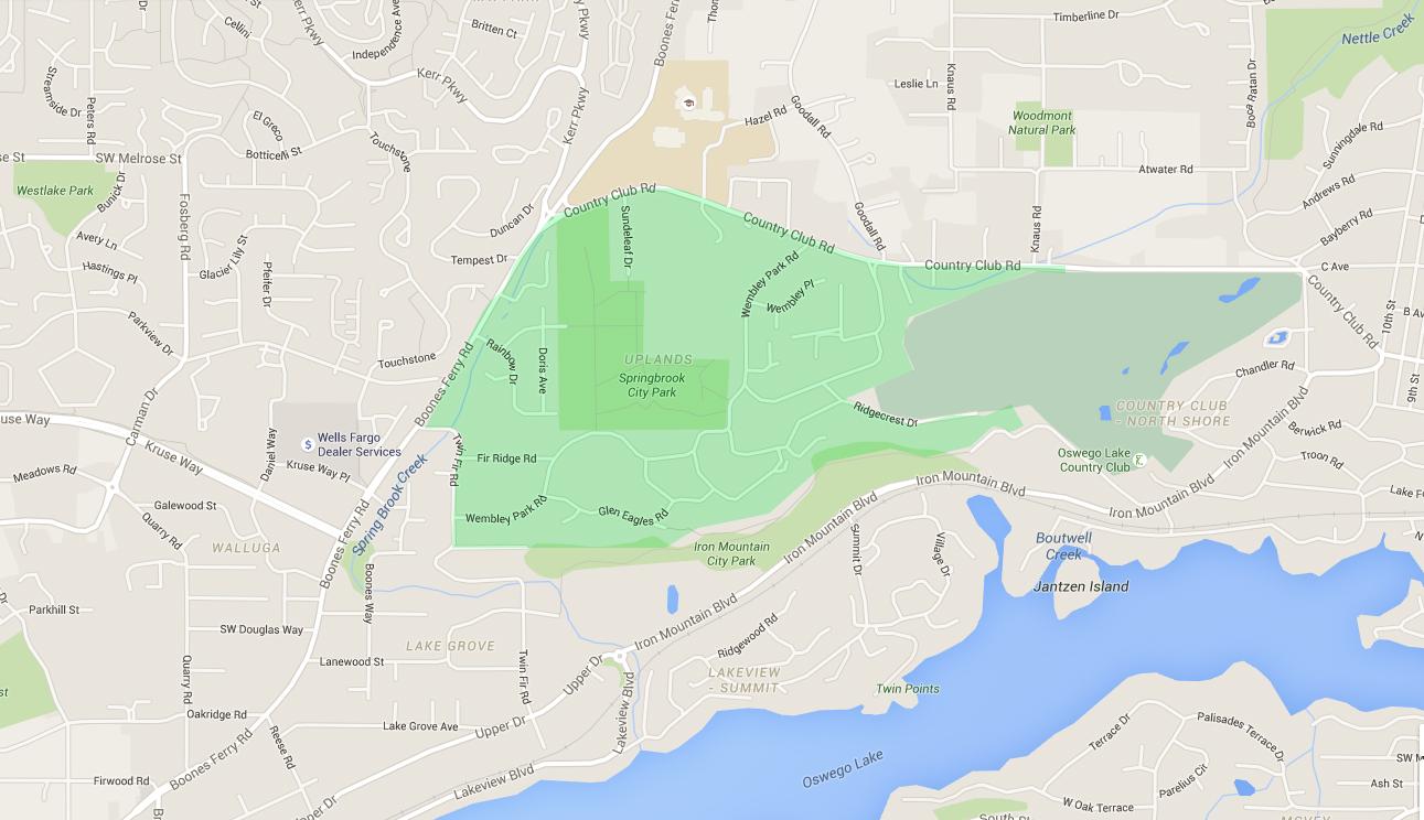 map of houses in upland, a lake oswego neighborhood