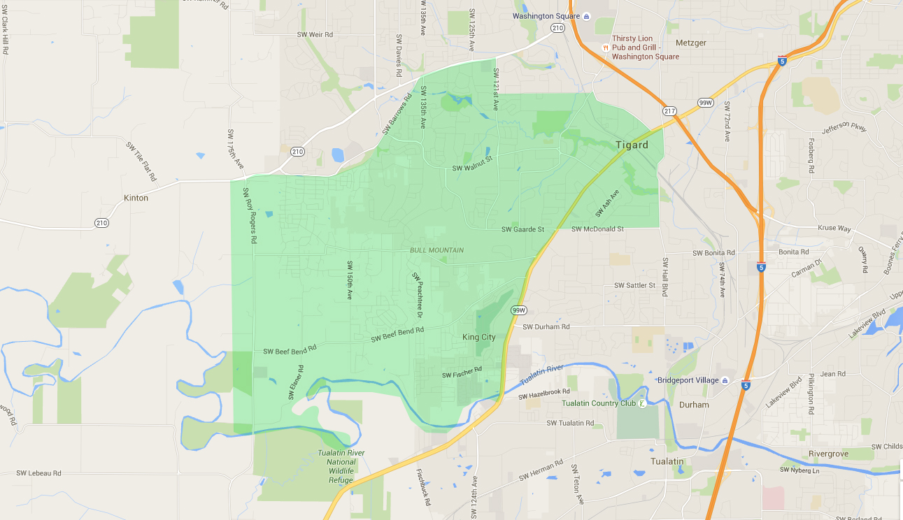 map of houses in bull mountain, a tigard neighborhood