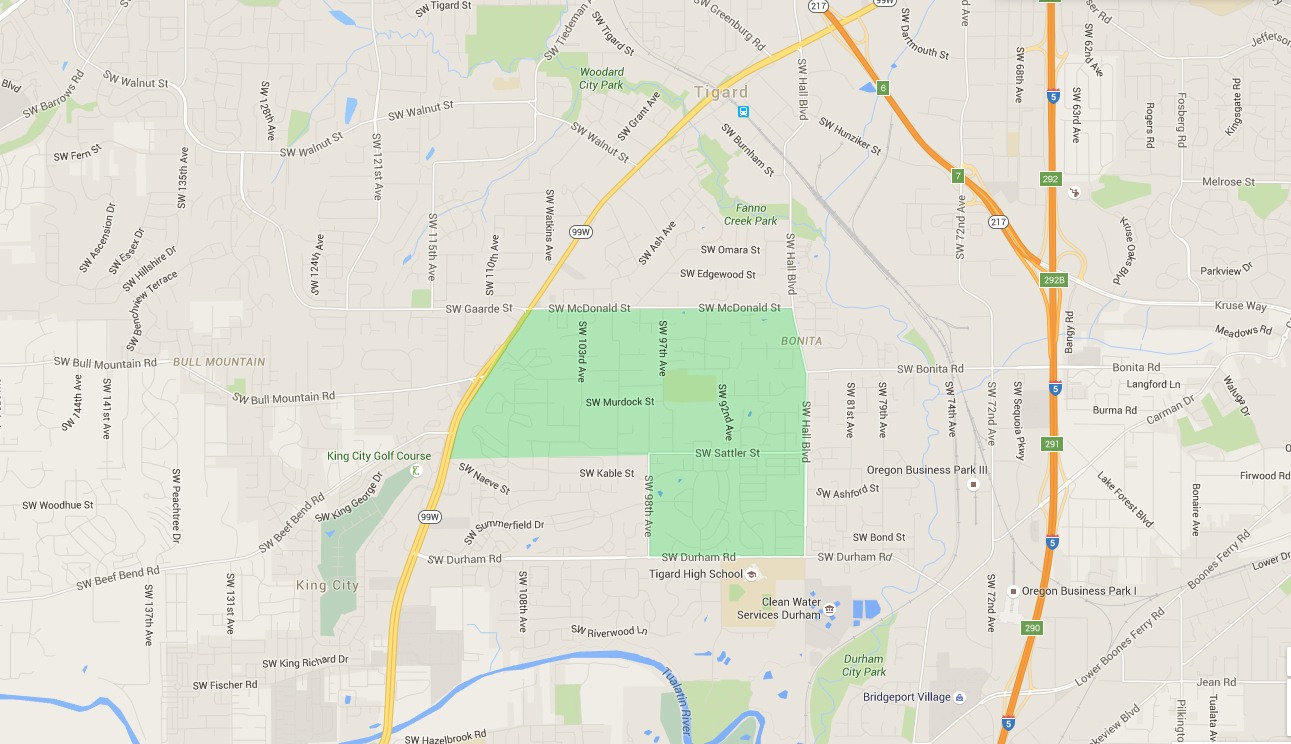 map of houses in mountain view, a tigard neighborhood