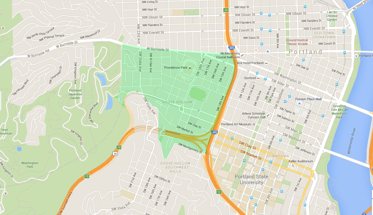 map of houses in goose hollow, a west portland neighborhood