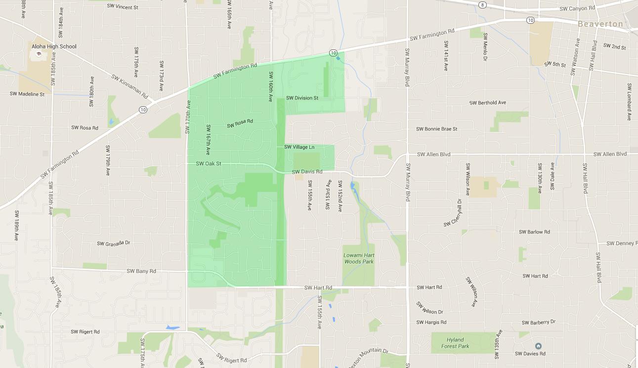 map of houses in west beaverton neighborhood
